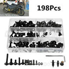 198Pcs Black Motorcycle Fairing Spring Screws Bolts Nuts Kit Fastener Clip Black