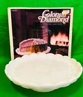 Vintage Anchor Hocking Colonial Diamond Milk Glass Footed Cake Plate