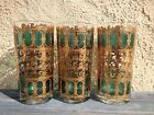 3 HOLLYWOOD REGENCY CULVER HIGH BALL GLASSES, 22KT GOLD OVERLAY, EMERALD SCROLL