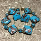 VINTAGE VENETIAN BLUE TURQUOISE AVENTURINE GLASS BEAD BRACELET EARRINGS SET