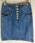 Vintage 80s 90s High Waist Denim Blue Jean Skirt Jrs Size 5 Womens Small
