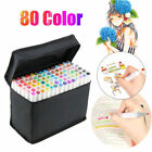 80 Colors Marker Pen Graphic Art Sketch Drawing Alcohol Twin Tip Pen Kids gift