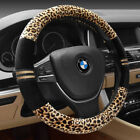 Universal Fit Leopard Print Plush Car Steering Wheel Cover Keep Warm For Car Suv