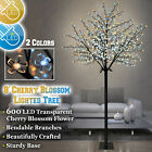 8ft Tall Cherry Blossom Flower Tree 600 LED Light 2 Colors Warm Cool White Tree