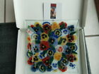 Peggy Karr Glass Square 10 Plate Pansy Flowers Signed with Box