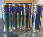 4 TALL MCM Tom Collins iced tea glasses GREEN gold BLUE 6 3/4