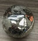 Kitras Art Glass Friendship Fairy Orb Witch Ball Silver Crackled Glass Mercury 6