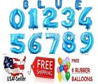 Blue 30 Foil Number Balloons Happy Birthday Wedding Party+Free Balloon