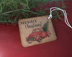 Christmas Gift Tags Distressed Rustic Primitive Vintage Red Truck set of 12