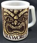 Vintage Sea World Tiki Face Milk Glass Coffee Mug By Federal 10 Oz