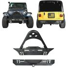 Stubby Front + Rear Bumper w D Rings  Winch Plate For 87 06 Jeep Wrangler TJ YJ