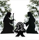 Christmas Decoration Outdoor Metal Silhouette Nativity Yard Signs Stakes Outside