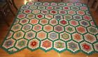 Vintage 1930s Hand Pieced Grandmother's Flower Garden Quilt TOP 76 x 81 BEAUTY