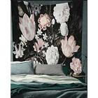 Black Blossoms Beautiful Flowers Wall Hanging Floral Tapestry Fabric Wallpaper