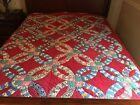 """x 66""-Handquilted RED-SeePhotos"
