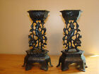 Antique FIGURAL PARROT Bird Cast Iron Set Of 2 Candle Candlestick Holders 10 1/4