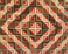 1890's Antique Hand Pieced/Hand Quilted Reversible  Log Cabin Summer Quilt