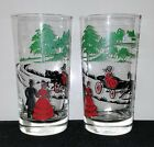 2 Vintage Drinking Glasses HORSE CARRIAGE HOUSE ON HILL Red Green Black ives