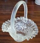 Clear Glass Satin Fenton Strawberry Vine Basket Glass Dish