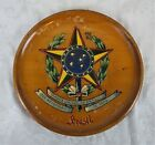 Vintage Wood Hand Painted Wall Plaque Plate Brazil Brasil Royal Coat of Arms
