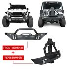 Front + Rear Bumper Tire Carrier D Rings Winch Plate for Jeep Wrangler JK 07 18