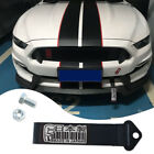 JDM Front Rear Bumper Racing Car Made in Japan Decal Tow Strap Towing Hook Black