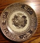 Very Dark Brown Antique Transferware Saucer with Exotic Scene SHIPS FREE!