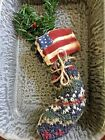 Primitive  Stitchery Christmas  Stocking Shelf Tuck Ornie with Prim Flag