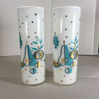 2 Vtg Mid-Century Modern White Frosted Highball Glasses Turquoise