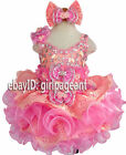 Infant toddler baby peach pink glass Crystals beading Pageant Dress G274