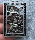 Token Pendant Fengshui China tibet Silver Double sided hollowing statue bird