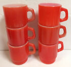 6 VINTAGE RED FIRE KING ANCHOR HOCKING COFFEE MUGS CUPS STACKING