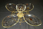 Vintage Pak-Away Lazy Susan Crystal 6 Piece Set Rotating Server Hazel Atlas
