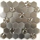 2 Hexagon Brushed Stainless Steel Metal Swirl Pattern Mosaic Tile Backsplash