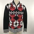 Neve Designs Sweater Size Large Womens Jodi Half Zip Red Black White Print Ski