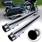 DNA 4 Chrome Megaphone Slip On Mufflers Exhaust Pipes 1995 2016 Harley Touring