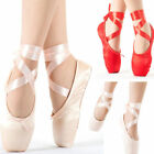 Red Pink Ballet Dance Toe shoes Professional Ladies Satin Pointe Shoes Silk