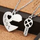 2pcs Silver Heart Key Best Friends Pendant Necklace Women BFF Friendship Gift