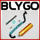 Exhaust Pipe+ GOLD Alloy Muffler 150cc 200cc 250cc Quad Dirt Bike ATV Dune Buggy
