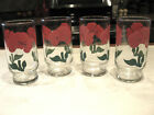 Mid Century Glass Water Tumblers Red Flowers Nice Vintage Condition