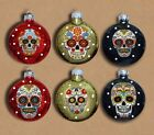 Sugar Skulls Decorated Glass Christmas Ornaments Set of 6