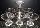7 Anchor Hocking BOOPIE GOLD Set of 8 Champagne Tall Sherbet Glasses Mid Century