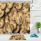 Dollar Coins Polyester Fabric Shower Curtains Set Liner Bathroom Accessory Hooks