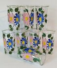 Vintage FEDERAL Handpainted Floral Drinking Glasses Set of (8) ~ Gorgeous EUC