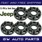 5 BLACK 15 JEEP HUB CENTRIC ADAPTERS 5x45 to 5x5 WRANGLER JK RIMS ON TJ OR YJ