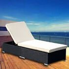 Adjustable Pool Chaise Lounge Chair Outdoor Garden Furniture PE Wicker W Cushion