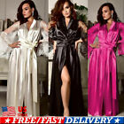 US Sexy Womens Night Dress Silk Satin Sleepwear Ladies Long Robes Nightwear Gown