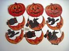 Vintage Halloween Die Cuts w Pumpkins Cats Owls Witches  Crescent Moons
