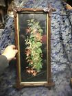 Antique Victorian Carve Wood Rustic Walnut Leaf Picture Frame Fuchsia Litho Big
