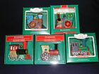 All Aboard this Set of 5 Tin Locomotive Keepsake Ornaments 1985 -1989 Ships Free